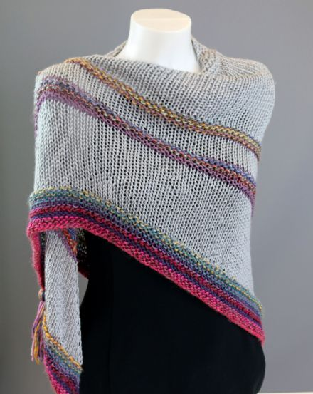 Soft grey wool shawl with stripe detail